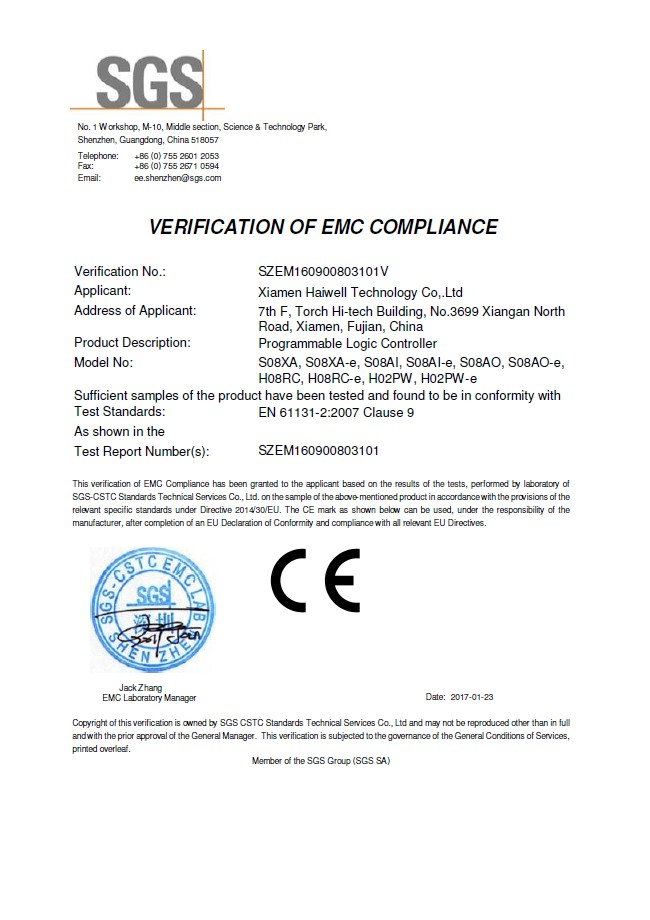 Haiwell PLC - CE certificate